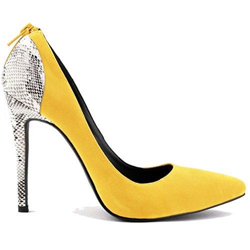 Punta Deslizante Amarillo Baja de Puntas Xianshu Mujer Zapatos Boca Zip de de Empalme Aguja Bombas q1pUwXO