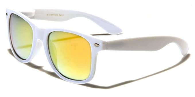 3c745d34b0 Mirozi Unisex White Wayferer Sunglasses With Colored Mirrored Lens (White