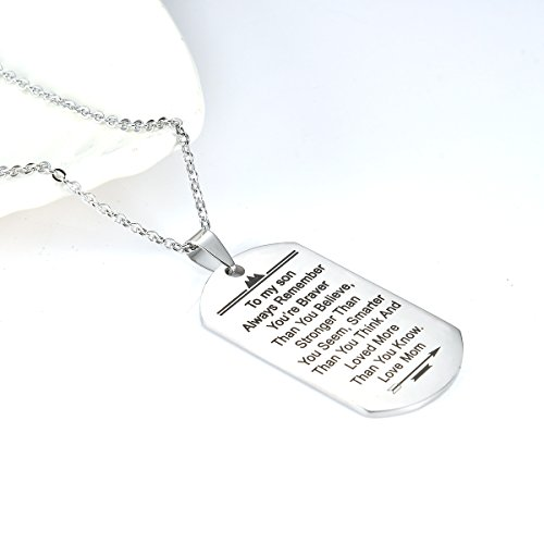 Stainless Steel Dog Tag Letters ''To my son....love mom'' Pendant Necklace,Inspirational Gifts For Son Jewelry by danjie (Image #2)