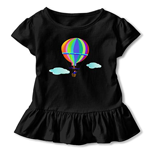 Girls' Short Sleeve Hot Air Balloon Colourful Shirts, Casual Blouse Clothes with Flounces, 2-6T Black -