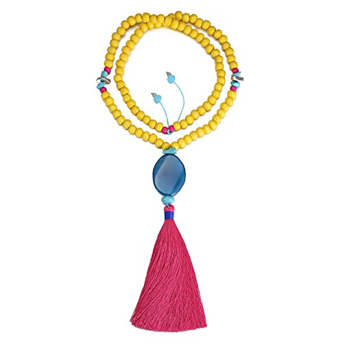 eManco Bohemian Handmade Tassel Long Pendant Statement Necklaces for Women Wood Bead Jewelry Fuschia