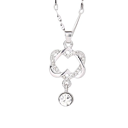 Heart Pendant Necklace,Haluoo Women Dainty Double Love Heart Rhinestones Pendant Necklace Luxurious Crystal Pendant Necklace for Ladies Wedding Anniversary Valentines Jewelry Gifts (Silver)