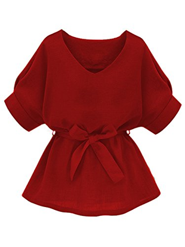 (Milumia Women's V Neckline Self Tie Short Sleeve Blouse Tunic Tops Red X-Large)
