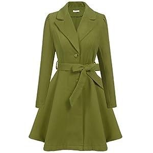 Showyoo Women's Classic Slim Fit Turn-Down Collar Wool Pea Coat With Belt Plus Size Green/L