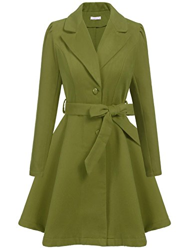 Pleated Trench - ELESOL Women's Elegant Pleated Swing Long Trench Coat Wool Blended Overcoat Plus Size Green/XXL