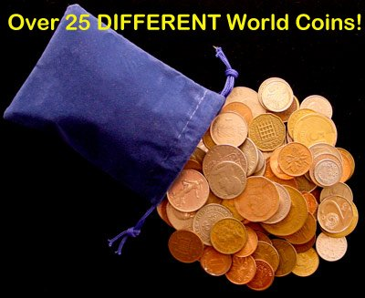 Over 25 DIFFERENT World Coins (1/4) Quarter Pound Grab Bag