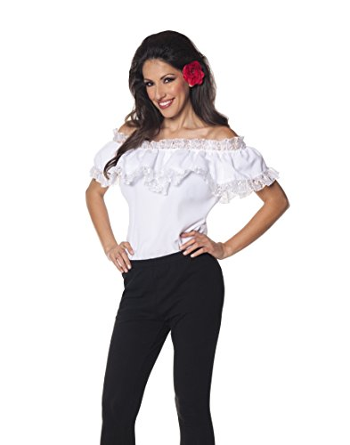 [Underwraps Women's Plus-Size Senorita Blouse, White, XX-Large] (Lady Reaper Adult Plus Size Costumes)
