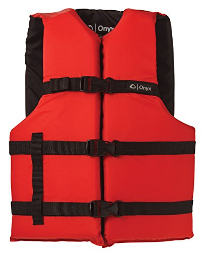 ONYX Adult General Purpose Life Vest, Red, Universal ONYX General Purpose Boating Life Jacket, Adult Universal Size (30