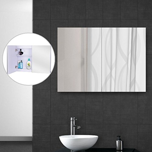 LED Wall Cabinet Mirror Medicine Cabinet Bathroom Doble Door