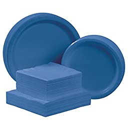Creative Converting Touch of Color Deluxe Tableware Kit Paper Plates and Napkins for 48 Guests, True Blue