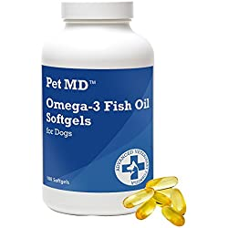 Pet MD - Omega 3 Fish Oil Supplement for Dogs - Skin, Coat, Joint, and Heart Health - 180 Softgels