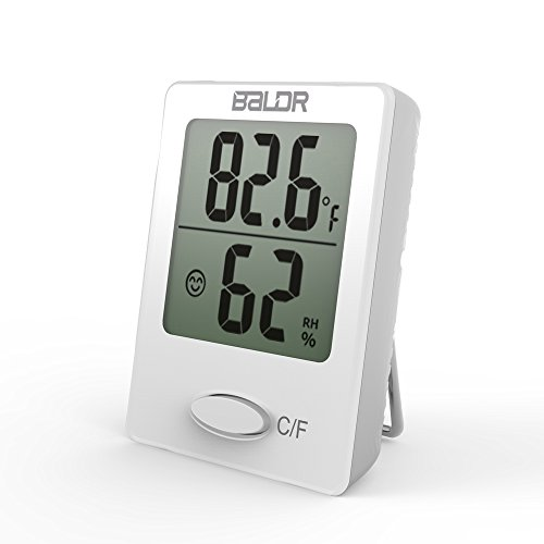 Price comparison product image BALDR Mini Digital Portable Versatile Thermometer Hygrometer monitor temperature gauge Humidity with Standing wall Hanging magnet babyroom greenhouse, White