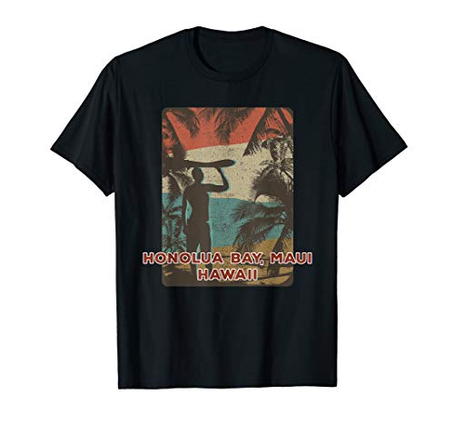 Retro Vintage Surfing Beach Honolua Bay, Maui, Hawaii T-Shirt