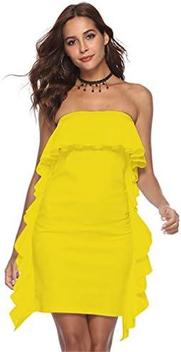2018年レディースドレス2019新ポリエステル露出ショルダーフリルセクシードレススカート結婚式パーティーホワイトピンクイエローレッドブラック,Yellow,L