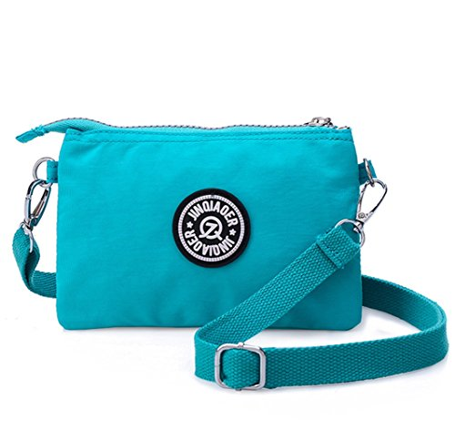 Bag Nylon Shoulder Zipper Dual Strap Phone Handbag Cell With Waterproof Purse Layers Azure Clutch Wristlet Pouch YOYx4Iw