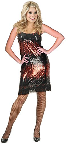 Charades Sexy Red Sequin 20's Flapper Dress Halloween Costume XL (Adult Red Sequin Shoe Covers)