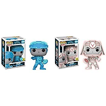Funko POP! Movies: Disneys Tron Movie Tron and Sark Glow in the Dark NON CHASE Toy Action Figure - 2 POP BUNDLE