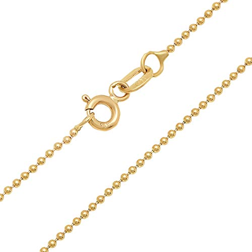 (Jewelry Pilot 14K Yellow Gold 1.2mm Ball Link Chain Necklace with Spring Ring Clasp - 16)