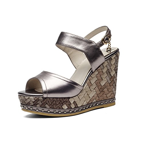 Summer Slope with Women Shoes Cowhide Diamonds high-Heeled Sandals Female Waterproof Platform Thick-Bottomed Fish Mouth Shoes Fashion Sexy Summer Shoes (high 11cm) (Color : Metallic, Size : 35) Metallic