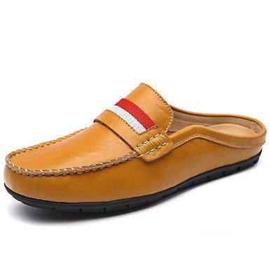 Zapatos de hombre exterior / oficina / Carrera / Casual Mocasines de cuero negro / azul / Marrón / Blanco Blue
