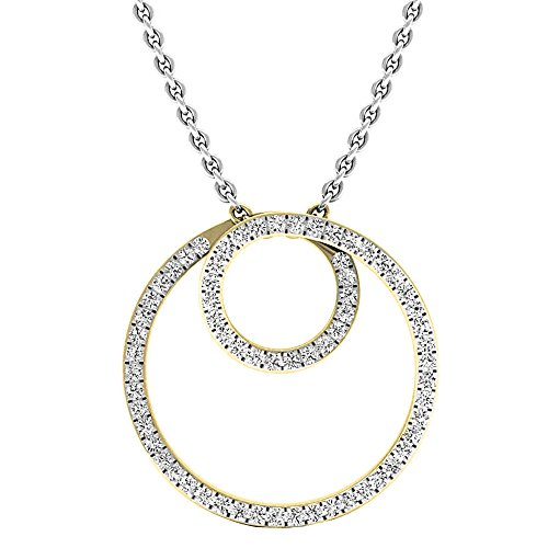 Dazzlingrock Collection 0.35 Carat (ctw) 14K Round Diamond Ladies Circle Pendant (Silver Chain Included) 1/3 CT, Yellow Gold