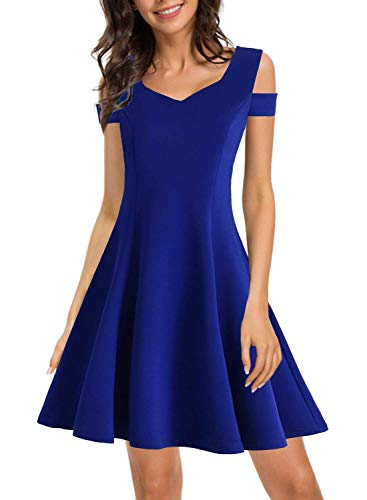 (HELYO Women's Cold Shoulder Little Cocktail Party A-line Skater Dress Modern Homecoming Petite Robe Dress to Wear to Daytime Wedding 168 Blue L)