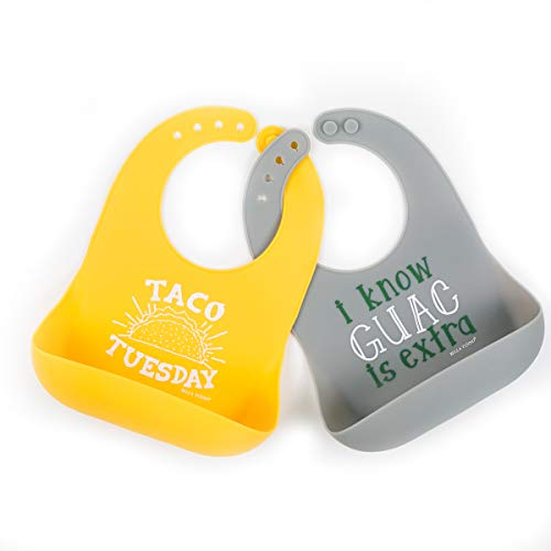 Bella Tunno 2 Piece Pack Guac Plus Taco Tuesday Wonder Bib, Yellow, Grey ()