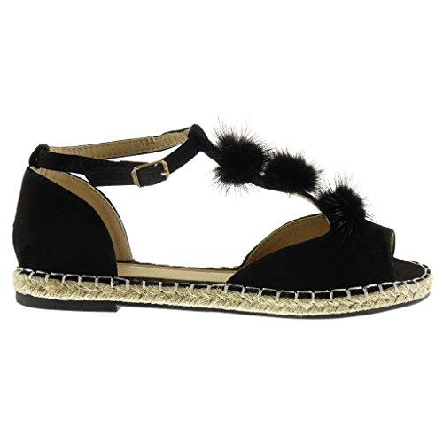 Angkorly - Zapatillas de Moda Sandalias alpargatas Peep-Toe correa mujer pompom cuerda bordado Talón Tacón ancho 2 CM - Negro