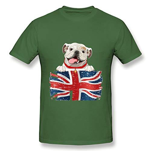 YILINGER Men's Athletic Quick Dry Short Sleeve T Shirts English Bulldog Over British Flag Army Green