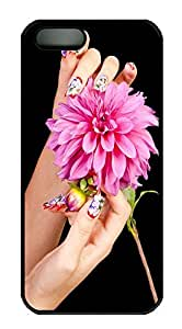 iPhone 5 5S Case Nail And Flower PC Custom iPhone 5 5S Case Cover Black
