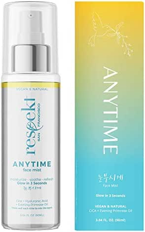 ANYTIME Face Mist 90ML: Vegan, All Natural, Organic Facial Toner Spray   Glow in 3 Seconds with Centella Asiatica(Cica), Hyaluronic Acid, Evening Primrose Oil