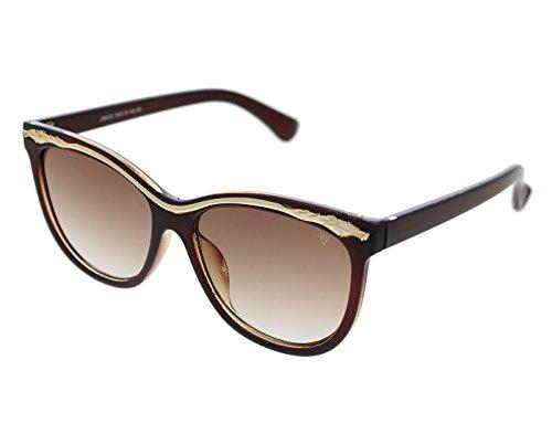Vast UV Protection Designer Cat Eye Women Sunglasses(BRNGld|Brown Lens)...