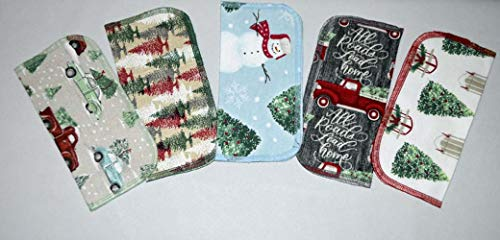 2 Ply Holiday Joy Washable Napkins 8x8 inches 5 Pack - Little Wipes (R) Flannel (Washcloth Holiday)