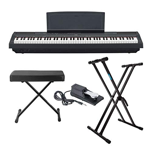 Why Should You Buy Yamaha P125 88 Weighted Key Digital Piano Bundle with Knox Double X Stand, Knox L...