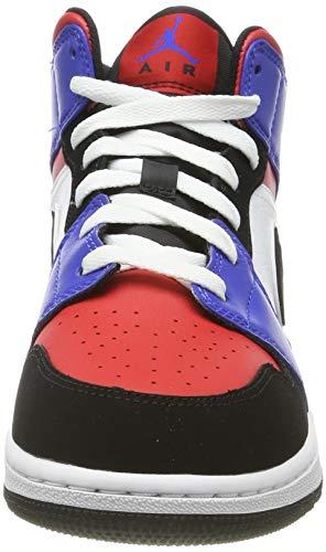 Nike Boy's Air Jordan 1 Mid (GS) Shoe White/Black-Hyper Royal/University Red, Size 3.5 M US Big Kid by Nike (Image #4)