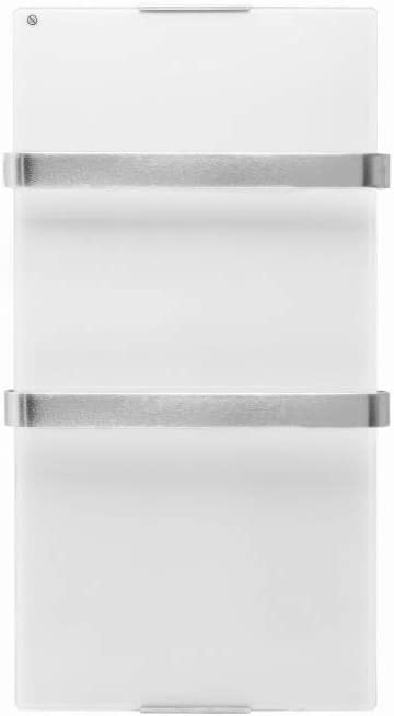 PURLINE ZAFIR V600T W Radiador toallero eléctrico de cristal templado, control por App WIFI y programador semanal, color blanco