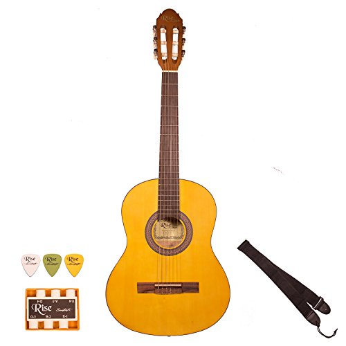 Rise by Sawtooth ST-RISE-CL-3/4-N 3/4 Size Beginner's Acoustic Guitar with Accessories, Satin Gold Stain by Rise by Sawtooth