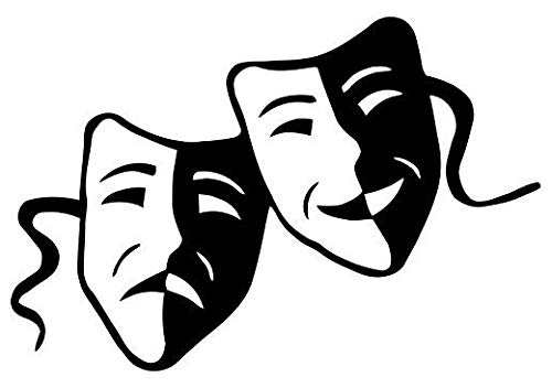 Theater Drama Masks - Sticker Graphic - Auto, Wall, Laptop, Cell, Truck Sticker for Windows, Cars, Trucks