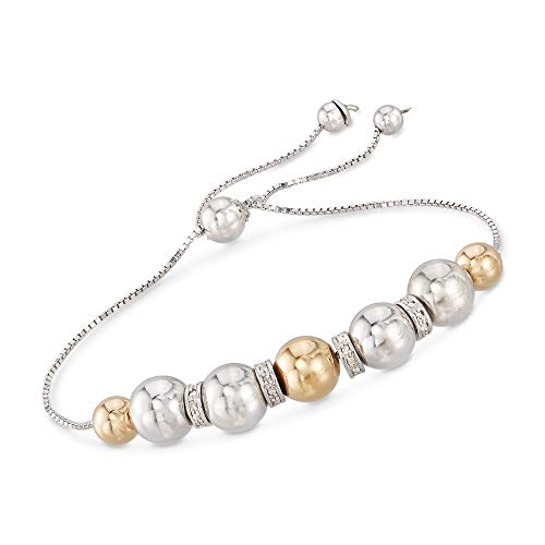 Ross-Simons 6-8mm Sterling Silver and 14kt Yellow Gold Bead Bolo Bracelet With .24 ct. t.w. Diamonds