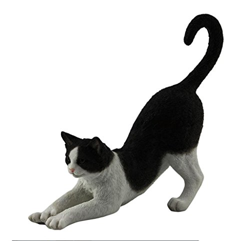Tuxedo Cat, Black and White, Stretching, Statue Figurine, Polystone (Cat Black Statues)
