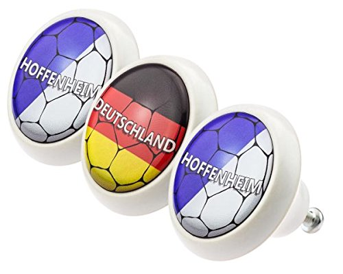 [Ceramic Knobs Assorted Set 0173 Soccer Football National League Hoffenheim 3pcs with modern domed shaped surface in shiny glass optics - Porcelain Cupboard Door Knob Cabinet Handles] (League Optic)