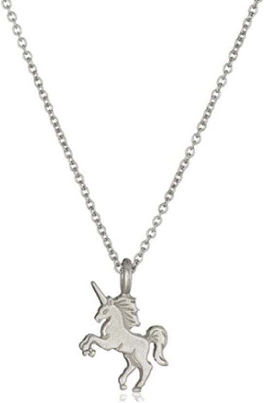 Glazed Unicorn Horse Animal Alloy Clavicle Pendant Necklace Gold with gift box