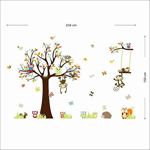 Colorful Squirrel Forest Animal Monkey Owls Tree Wall Sticker Wall Sticker Mural Decal Kids Home Decor 150234 cm (Colorful The Squirrel Owl Monkeys)