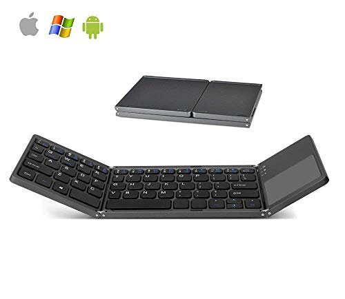 Arkscan KB31 Foldable Wireless Keyboard & Touchpad Mini Pocket Size for iOS/iPad/iPhone, Android, Windows, PC, Tablet, Smartphone, Apple TV, PS4 & Other Devices w/Bluetooth, Rechargeable Portable