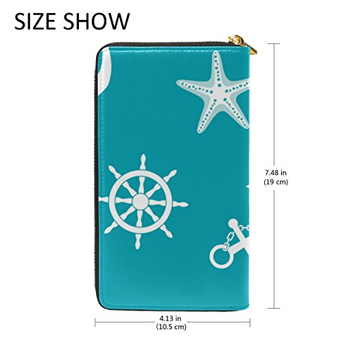 Handbags Zip Womens Green Clutch Purses Starfish And Organizer TIZORAX Wallet Anchor Around z4wd8