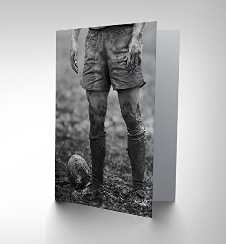 Wee Blue Coo LTD NEW DT BALL RUGBY MUD BOWL ART BIRTHDAY GIFT BLANK GREETINGS CARD CP1074 -