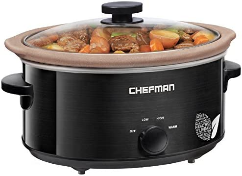 Chefman Slow Cooker, All-Natural XL 5 Qt. Pot, Glaze-Free, Chemical-Free Stovetop, Oven, Dishwasher Safe Crock The Only Naturally Nonstick Paleo Certified Slow Cooker, Free Recipes Included