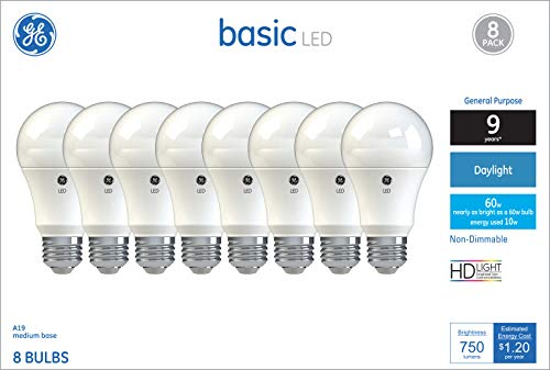 (GE Lighting 37048 Light Bulb General Purpose Basic A19 Daylight LED 10 (60-Watt Replacement), 750-Lumen Medium Base,)