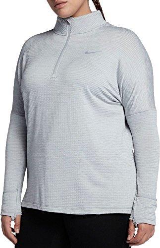 Nike Women's Plus Size Sphere Element ½ Zip Running Shirt(Wolf Grey/HTR, 1X)