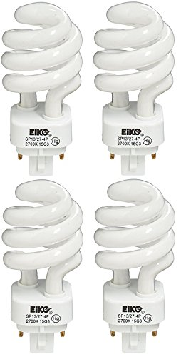 Eiko 05251 - SP13/27-4P Twist Pin Base Compact Fluorescent Light Bulb - 4 Pack (Base 2700k 10000 Hour Spiral)
